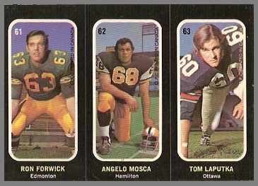 Ron Forwick, Angelo Mosca, Tom Laputka 1972 O-Pee-Chee Stickers football card
