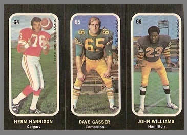 Herm Harrison, Dave Gasser, John Williams 1972 O-Pee-Chee Stickers football card