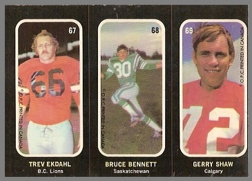 Trev Ekdahl, Bruce Bennett, Gerry Shaw 1972 O-Pee-Chee Stickers football card