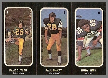 Dave Cutler, Paul McKay, Rudy Sims 1972 O-Pee-Chee Stickers football card