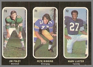 Jim Foley, Pete Ribbins, Marv Luster 1972 O-Pee-Chee Stickers football card