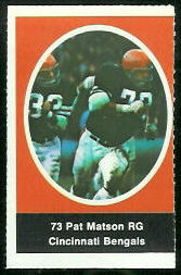 Pat Matson 1972 Sunoco Stamps football card