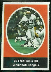 Fred Willis 1972 Sunoco Stamps football card
