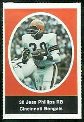 Jess Phillips 1972 Sunoco Stamps football card