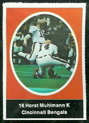 Horst Muhlmann 1972 Sunoco Stamps football card
