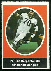 Ron Carpenter 1972 Sunoco Stamps football card