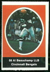 Al Beauchamp 1972 Sunoco Stamps football card
