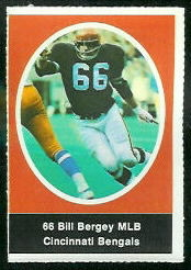 Bill Bergey 1972 Sunoco Stamps football card