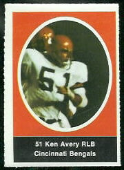 Ken Avery 1972 Sunoco Stamps football card