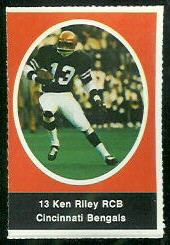 Ken Riley 1972 Sunoco Stamps football card