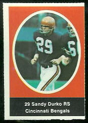 Sandy Durko 1972 Sunoco Stamps football card
