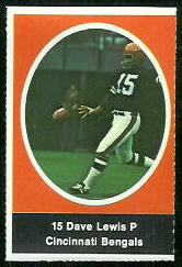 Dave Lewis 1972 Sunoco Stamps football card