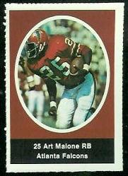 Art Malone 1972 Sunoco Stamps football card