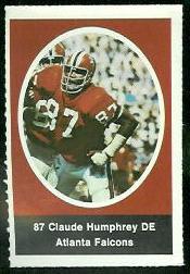 Claude Humphrey 1972 Sunoco Stamps football card