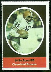Bo Scott 1972 Sunoco Stamps football card