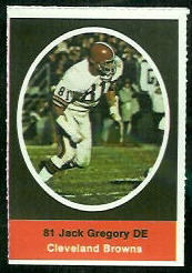 Jack Gregory 1972 Sunoco Stamps football card