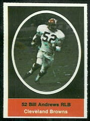Bill Andrews 1972 Sunoco Stamps football card