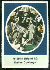 John Niland 1972 Sunoco Stamps football card
