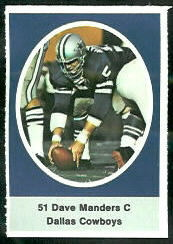 Dave Manders 1972 Sunoco Stamps football card