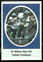 Blaine Nye 1972 Sunoco Stamps football card