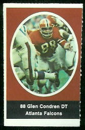 Glen Condren 1972 Sunoco Stamps football card