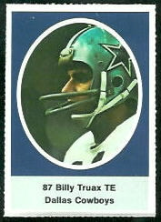 Billy Truax 1972 Sunoco Stamps football card