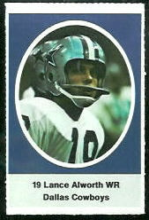 Lance Alworth 1972 Sunoco Stamps football card