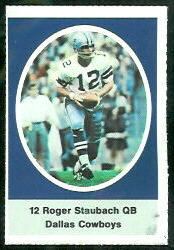 Roger Staubach 1972 Sunoco Stamps football card