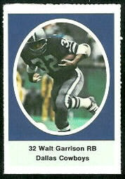 Walt Garrison 1972 Sunoco Stamps football card