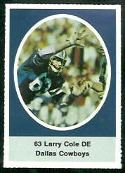 Larry Cole 1972 Sunoco Stamps football card