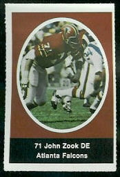 John Zook 1972 Sunoco Stamps football card