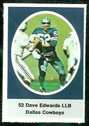 Dave Edwards 1972 Sunoco Stamps football card