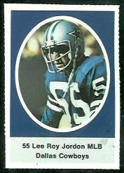 Lee Roy Jordan 1972 Sunoco Stamps football card