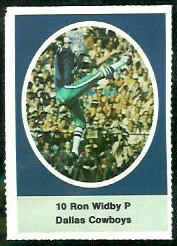 Ron Widby 1972 Sunoco Stamps football card