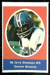 Jerry Simmons 1972 Sunoco Stamps football card