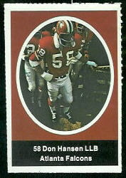 Don Hansen 1972 Sunoco Stamps football card