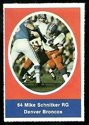 Mike Schnitker 1972 Sunoco Stamps football card
