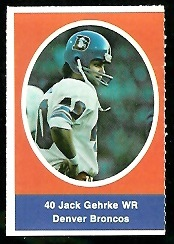 Jack Gehrke 1972 Sunoco Stamps football card