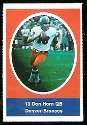 Don Horn 1972 Sunoco Stamps football card