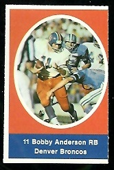 Bob Anderson 1972 Sunoco Stamps football card