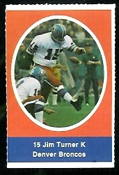 Jim Turner 1972 Sunoco Stamps football card