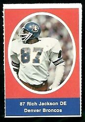 Rich Jackson 1972 Sunoco Stamps football card