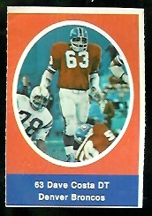 Dave Costa 1972 Sunoco Stamps football card