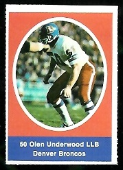 Olen Underwood 1972 Sunoco Stamps football card