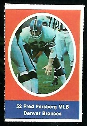 Fred Forsberg 1972 Sunoco Stamps football card