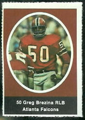 Greg Brezina 1972 Sunoco Stamps football card