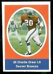 Charlie Greer 1972 Sunoco Stamps football card