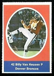 Bill Van Heusen 1972 Sunoco Stamps football card