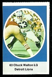 Chuck Walton 1972 Sunoco Stamps football card