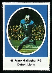 Frank Gallagher 1972 Sunoco Stamps football card